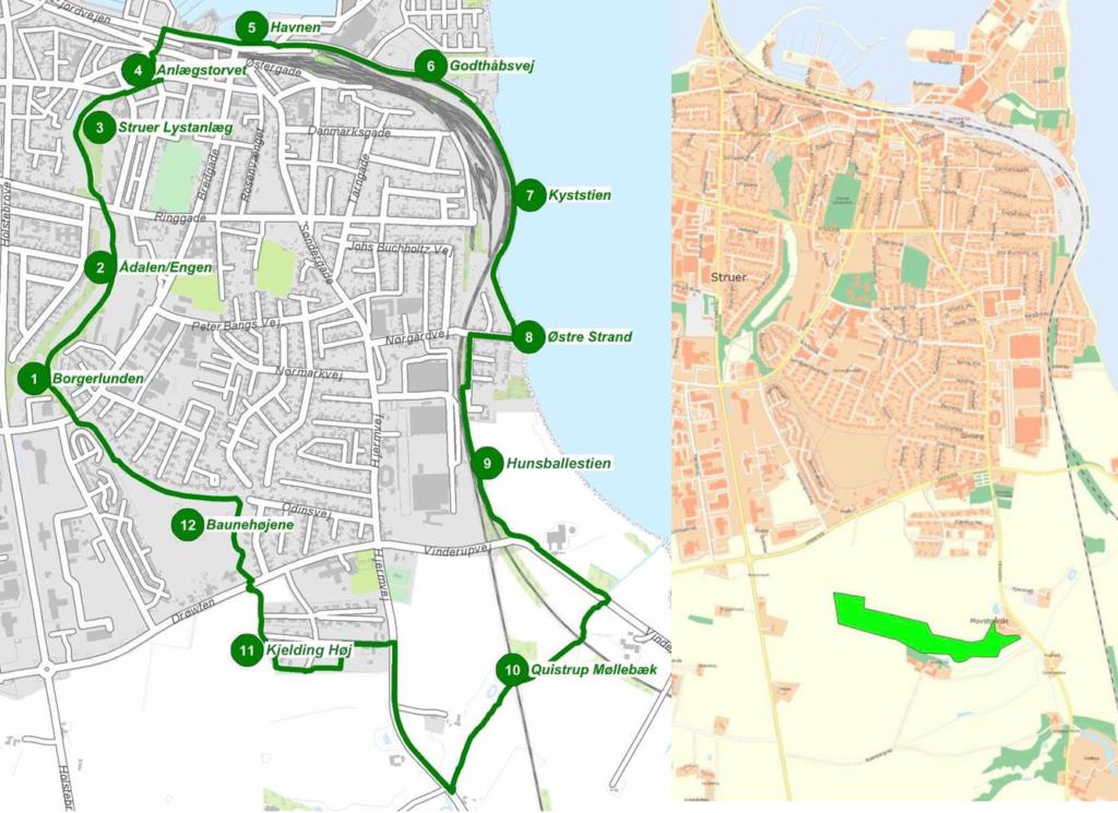"""På billedet til højre ses Struers Folkeskovs placering i forhold til kommunens """"Grønne Ring"""", der ses på billedet til venstre. Foto: Struer Kommune og Struers Folkeskov."""